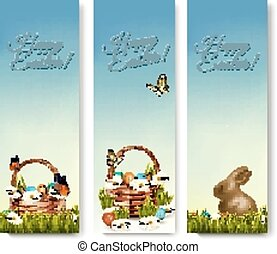 Three banners with Easter backgrounds. Eggs in baskets and a chocolate Easter bunny. Vector.