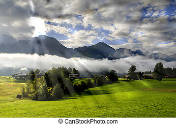 Morning in the Alps - Beautiful summer landscape of the...