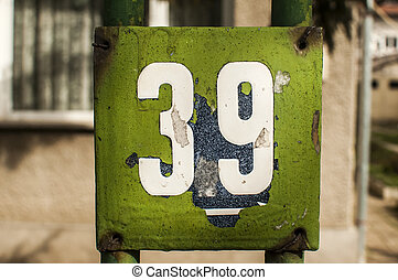 Weathered enameled plate number 39 - Weathered grunge square...
