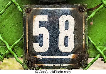 Weathered enameled plate number 58 - Weathered grunge square...