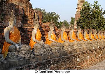 Buddha Status at Wat Yai Chaimongkol in Thailand - Buddha...