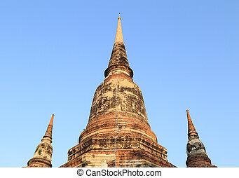 Pagoda at Wat Yai Chaimongkol, Thailand - Pagoda at Wat Yai...