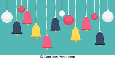 Hanging Christmas Bells and Balls Graphic Design - Simple...