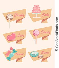 Set of Icons for Sweet, Candy, Cake and Love - Set of Simple...