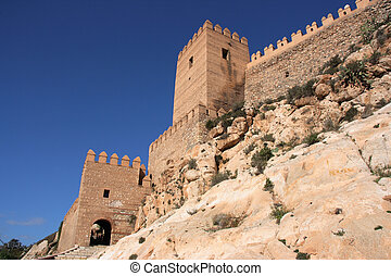 Fortified castle - Alcazaba - fortified Moorish castle on a...