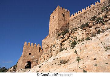 Fortified castle - Alcazaba - fortified Moorish castle on a...