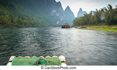 Li river rafting hyperlapse - Xinping area , China