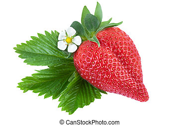 Strawberry with green leaf isolated on white