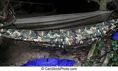 Hammock in jungle slider shoot - Camp at Tu Lan caves system...
