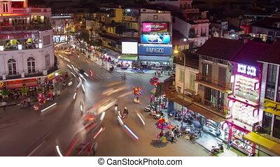 Hanoi traffic timelapse - HA NOI, VIETNAM - APRIL 8:...