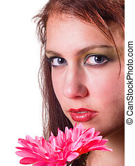 Red Head with Flowers
