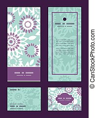 Vector purple and blue floral abstract vertical frame...