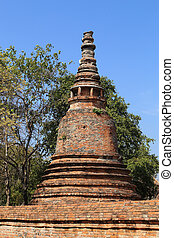 Pagoda at Wat Mahaeyong, the ruin of a Buddhist temple in...