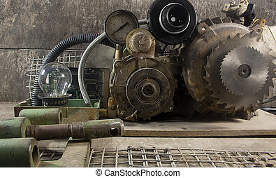 Mechanical machine parts. - Old rusty metal mechanical parts...
