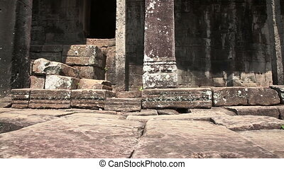 Ancient temple slider filming - Bayon temple in Angkor...