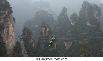 Wulingyuan mountain cableway timelapse - Wulingyuan mountain...