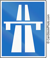 Autobahn in Austria - Austrian traffic sign: Beginning of...
