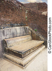 Royal Stone Throne at Sigiriya, Sri Lanka - Image of a...