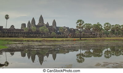 Angkor Wat temple zoom timelapse 2 - Angkor temples complex...