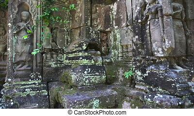Ancient temple slider filming - Angkor temples complex in...