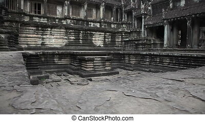 Ancient temple slider filming - Angkor Wat temple in...