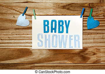 Baby shower card hanging with clothepins - Baby shower card...
