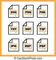 digitale,  Set, formaten, Het indiceren, iconen