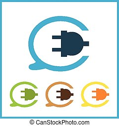 Wire, socket and electric plug vector design.