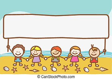Kids holding banner at beach