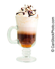 irish coffee  isolated on white background. clipping Path