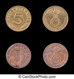 Two Fascist coins on a Black Background. - Obverse and...