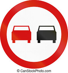 No Overtaking in Poland - Polish traffic sign: No overtaking...