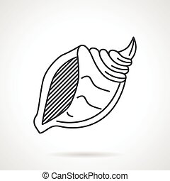 Black line vector icon for seashell - Flat black line vector...