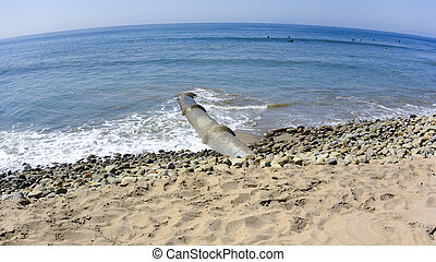 Crooked Ocean Polluter - Drainage waste pipe near central...