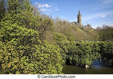 Glasgow, universidad, torre, visto, encima, Puente,...