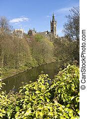 Glasgow, universidad, torre, Glasgow, Escocia, Reino Unido,...
