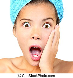 Surprised shower woman - Surprised out of shower woman...