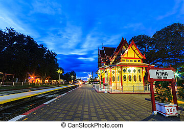 Twilight at Hua Hin Railway Station. - Twilight at Hua Hin...