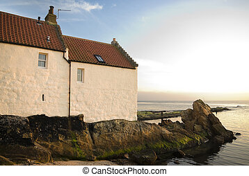 Picturesque fisherman\'s cottage in the village of...