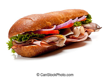A submarine sandwich on a white background