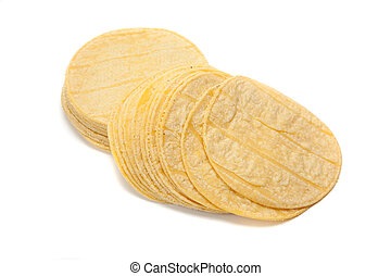 Stack of corn tortillas on white - A stack of corn tortillas...