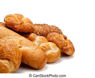 Various types of bread on a white background