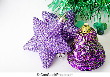 Christmas ornaments in purple color - Purple stars and...