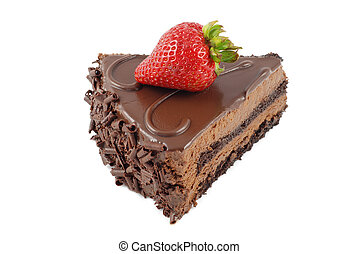 Slice of chocolate cake with strawberry isolated on white