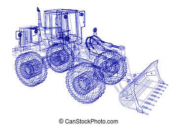 3D, modelo, bulldozer, ,
