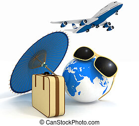 Travel and vacation concept - 3d suitcase, airplane, globe...