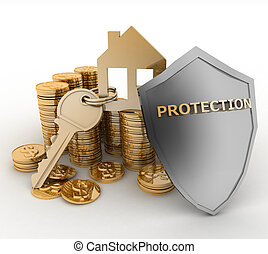 House with key and shield - 3d house symbol with key on Pile...