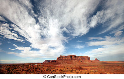 Bright Clouds in Monument Valley Arizona Navajo Nation -...