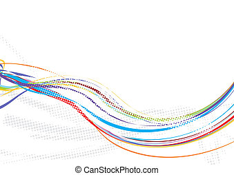rainbow wave line background with halftone background