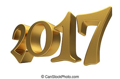 Gold 2017 lettering isolated - New 2017 Year 3d text on...